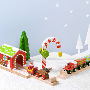 Christmas Candy Cane Tunnel And Santa Train Set - traditional toys & games