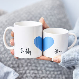 Personalised Daddy And Me Heart Mug Set - summer sale
