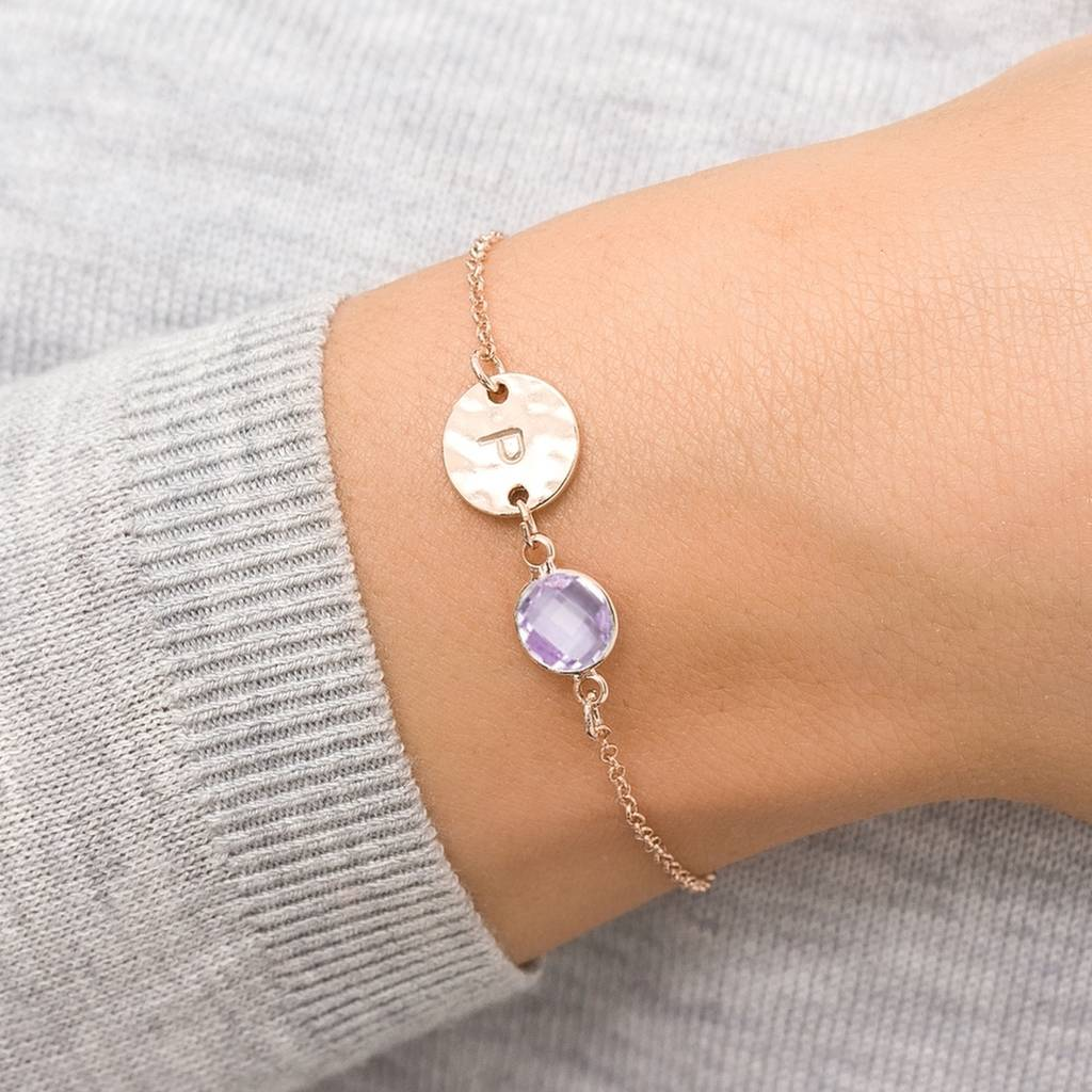 Hammered November Initial Birthstone Bracelet