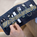 Leather Tech Roll And Mobile Accessories, Navy Blue