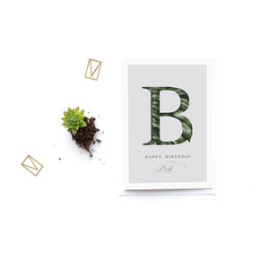 Personalised Botanical Alphabet Greeting Card