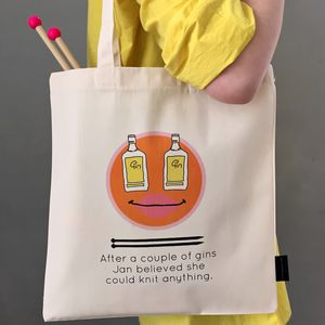 'Gin And Knitting' Personalised Knitting Tote - womens