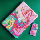 Bubblegum Ink Marble iPhone Case And Macbook Vinyl Skin