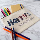 Personalised Travel Buddies Pencil Case And Notebook