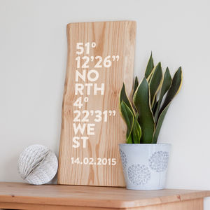 Personalised Coordinates On Wood - home