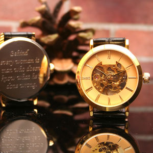Gents Gold Personalised Wrist Watch - watches