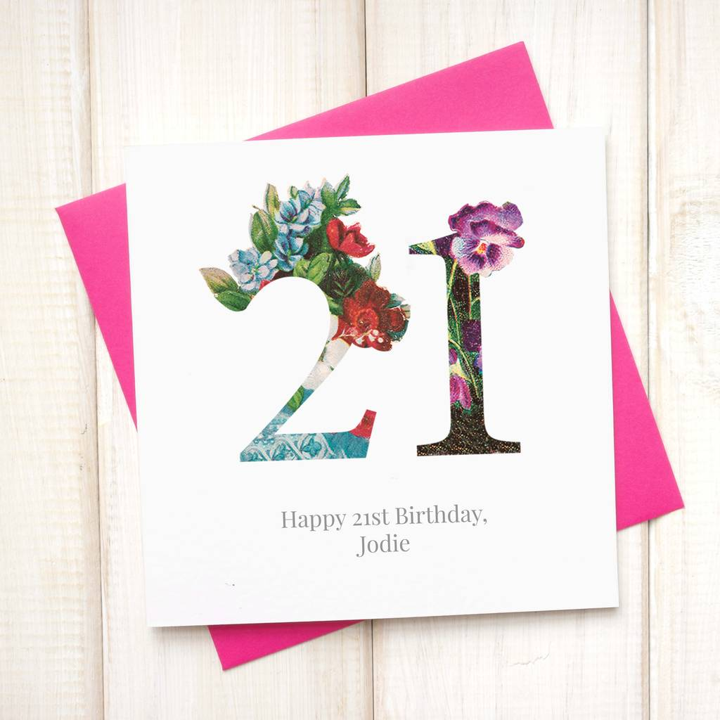 Personalised Floral 21st Birthday Card By Chi Chi Moi