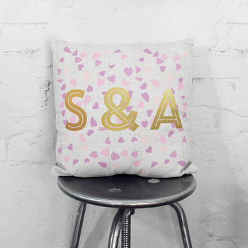 Personalised Confetti Metallic Initials Cushion