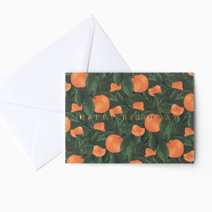 Dark Botanical Orange Fruit 'Happy Birthday' Card