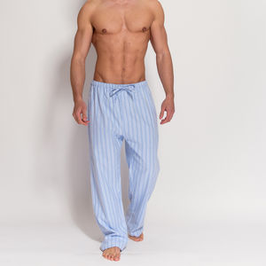 Men's Blue Striped Flannel Pyjama Trousers - men's fashion