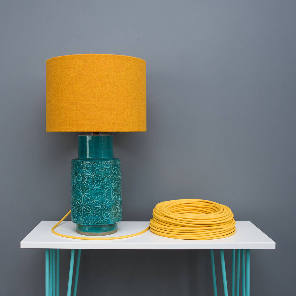 bright mustard yellow harris tweed lampshade by quirk ...