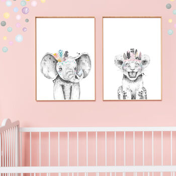 Safari Animals Wall Art Print Set Of Elephant And Lion
