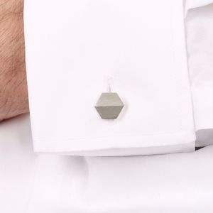 Sterling Silver Hexagonal Cufflinks - cufflinks