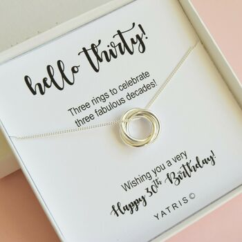 Three Ring 30th Birthday Necklace Gift