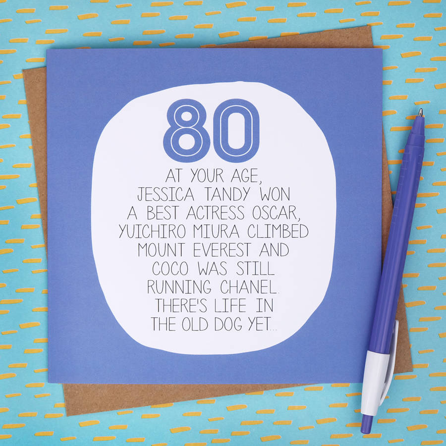 By Your Age Funny 80th Birthday Card Paper Plane