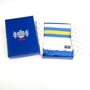 Luxury Youth Footie Scarf: White Yellow Blue