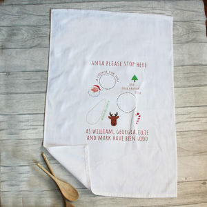 Personalised Santa's Treat Tea Towel