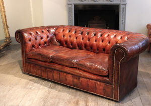 Circa 1920s English Leather Chesterfield Sofa