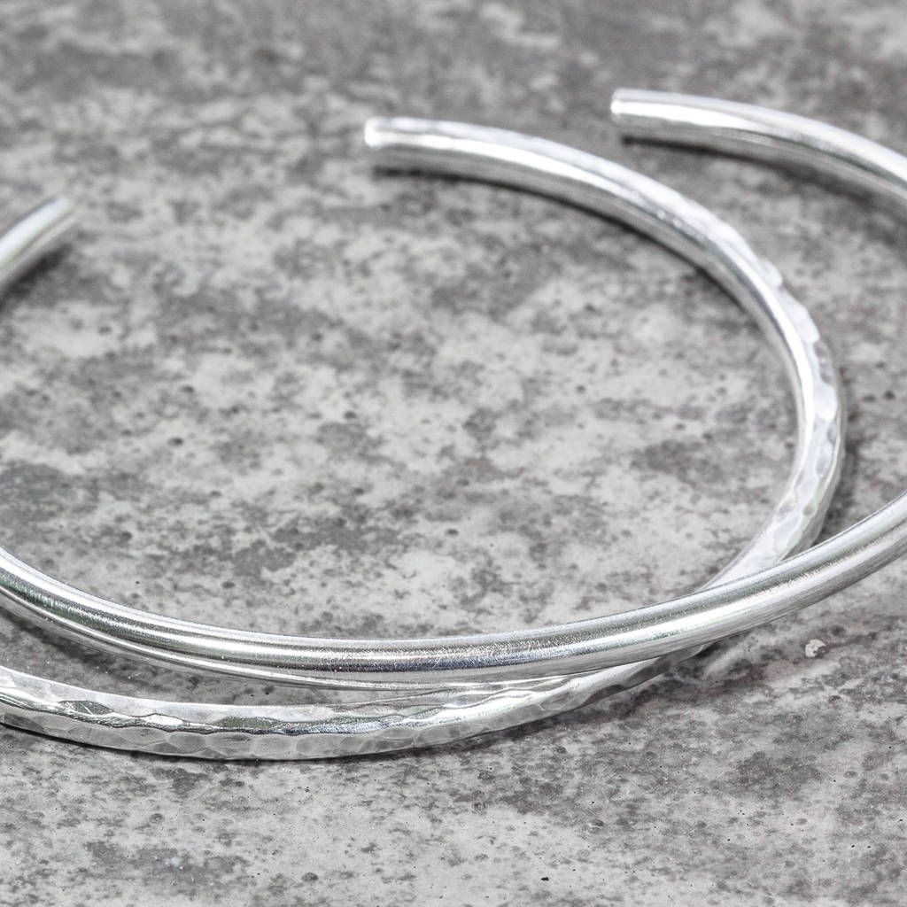Sterling Silver Skinny Torque Bangle