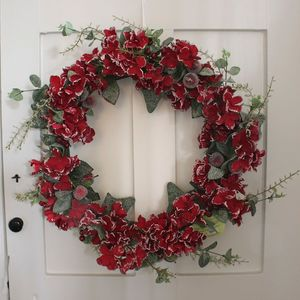 Red Hydrangea , Berry And Eucalyptus Christmas Wreath