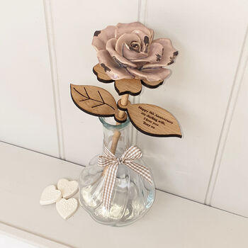 Pottery Ceramic And Wood Anniversary Rose In Vase