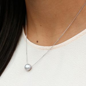 Floating Grey Pearl Necklace