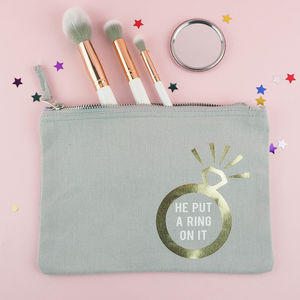 'He Put A Ring On It' Make Up Bag - bright & bold hen party