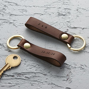 Personalised Leather Loop Keyring - for him