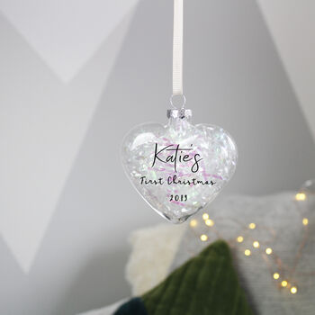 Personalised First Christmas Filled Bauble Decoration