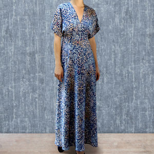 Maxi Dress In Blue Japan Floral Print Crepe - dresses