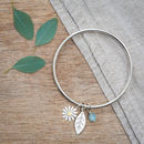Aster And Leaf Bangle In Solid Silver And 18ct Gold
