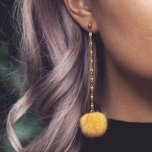 Harper. Faux Fur Pom Pom Drop Earrings In Yellow