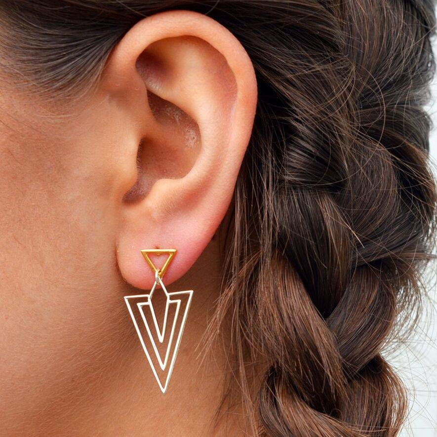 Geometric Art Deco Style Gold And Silver Drop Earrings