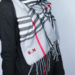 Personalised Check Initials Scarf - mens