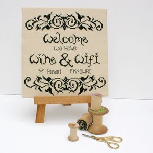 Wine And Wifi Cross Stitch Kit