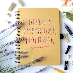 Personalised Homework Notebook Floral Print - writing