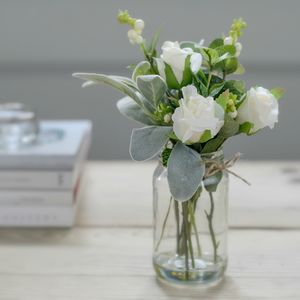Faux White Garden Rose Bud Posy With Jam Jar