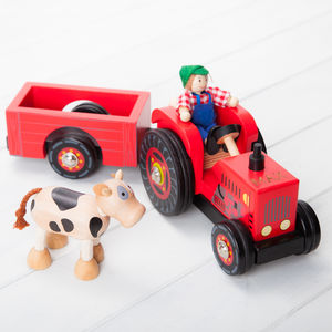Personalised Red Wooden Farm Tractor Toy And Characters - cars & trains
