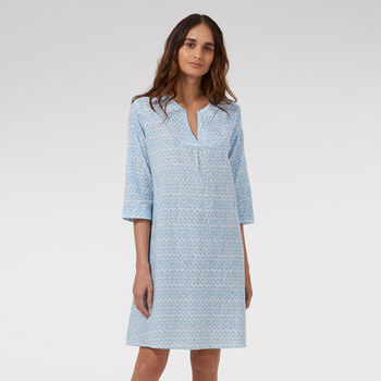 Kaftan Florence Nightdress In Blue Hexagon Print
