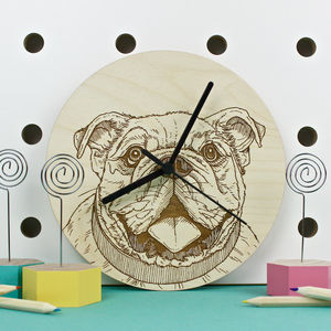 Bulldog Portrait Wall Clock - children's room