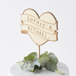 Personalised Heart Banner Cake Topper - cake decoration