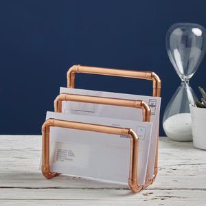 Industrial Copper Letter Holder - on trend: mixed materials