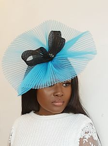 Blue Headpiece With Black Bow Detail - hats & fascinators