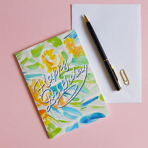 Bright Floral Happy Birthday Card - birthday cards