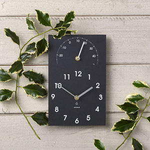 Eco Recycled Outdoor Clock And Thermometer - living room