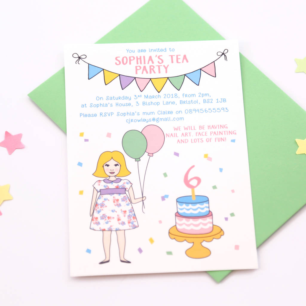 personalised girl birthday party invitations by superfumi ...