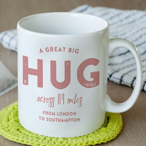 Personalised 'Hug Across The Miles' Locations Mug - home