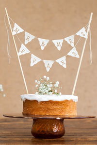 Personalised Wedding Cake Mini Bunting - table decorations