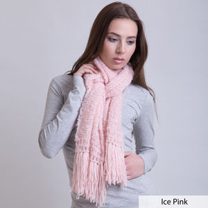Scarf With Wool Tassels - womens