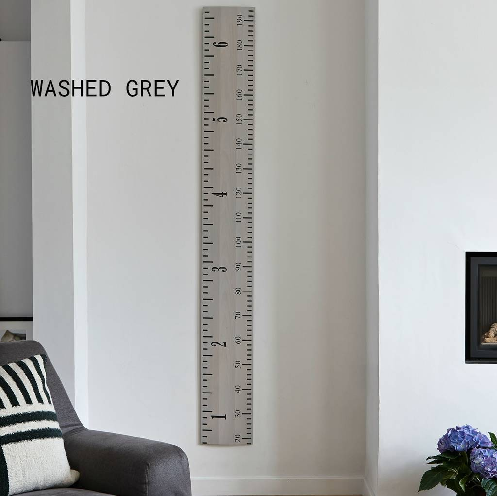 Wooden Ruler Growth Chart In White Grey And Putty